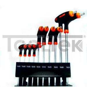 2 kit CHIAVI TORX-HEX A T LUNGHE 10pz CON IMPUGNATURA E SUPPORTO METALLO Germany